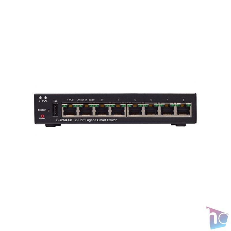 Cisco SG250-08 8port GbE LAN Smart menedzselhető switch