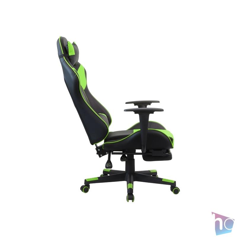 Iris GCH204BE_FT fekete / zöld gamer szék