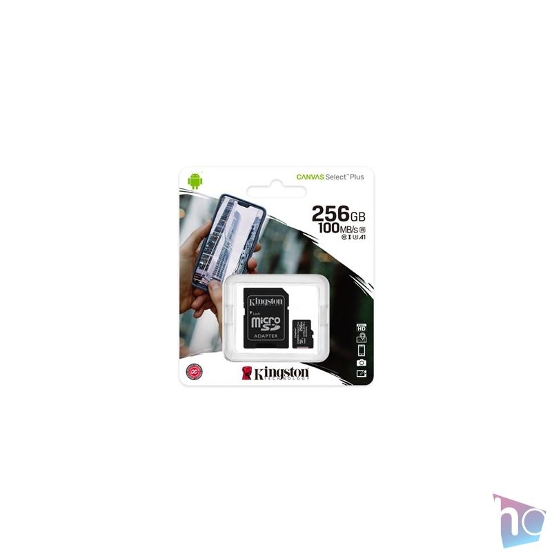 Kingston 256GB SD micro Canvas Select Plus (SDXC Class 10 A1) (SDCS2/256GB) memória kártya adapterrel