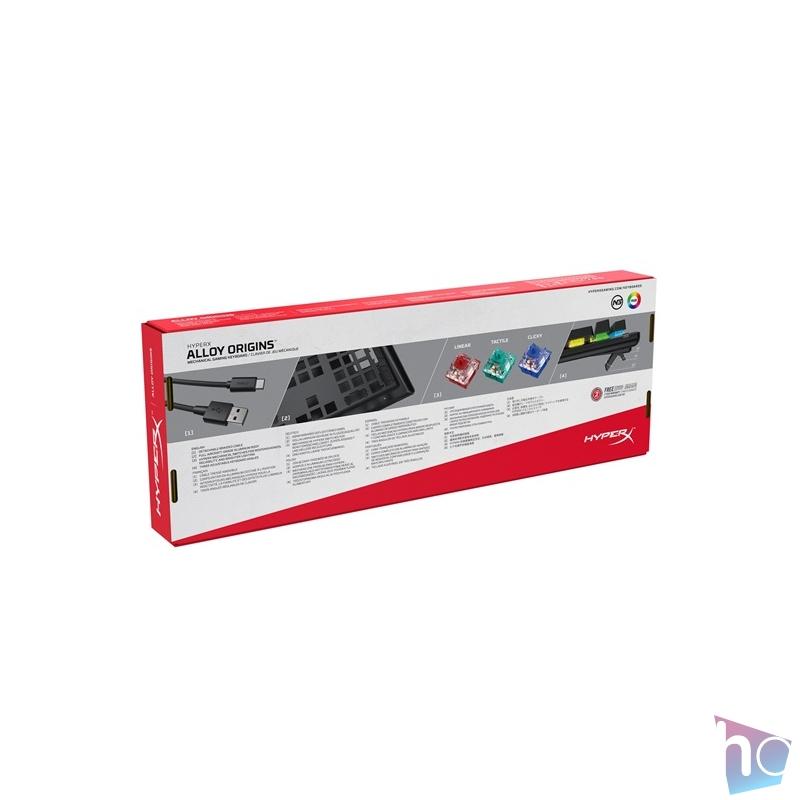 Kingston HyperX Alloy Origins (HyperX red) US világító mechanikus gamer billentyűzet