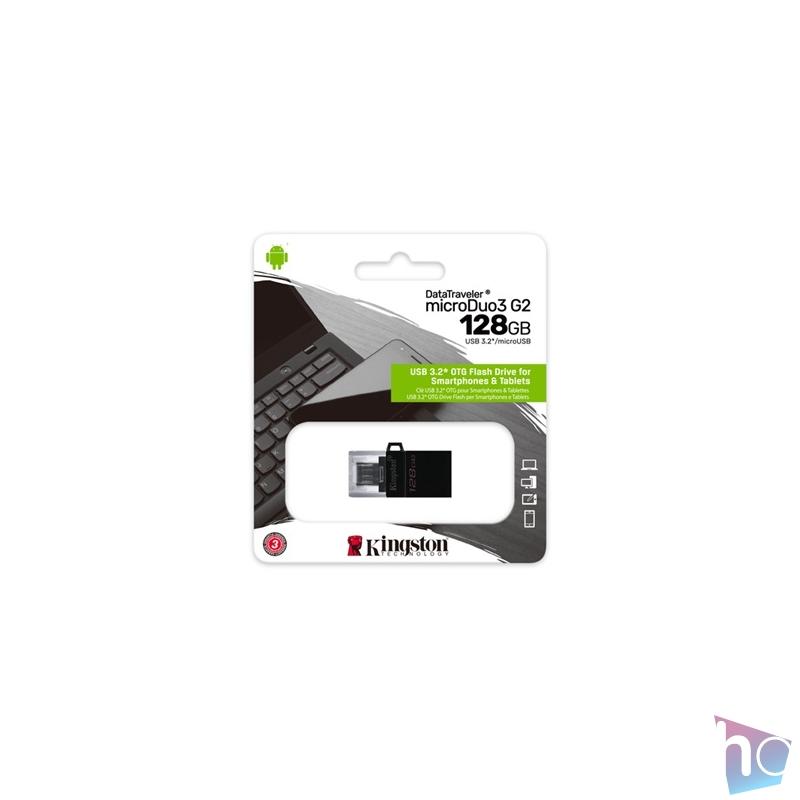 Kingston 128GB microUSB3.2 /USB3.2 A Fekete (DTDUO3G2/128GB) Flash Drive