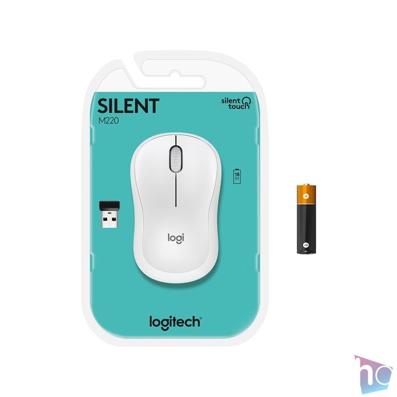 Logitech M220 Silent vezeték nélküli fehér egér