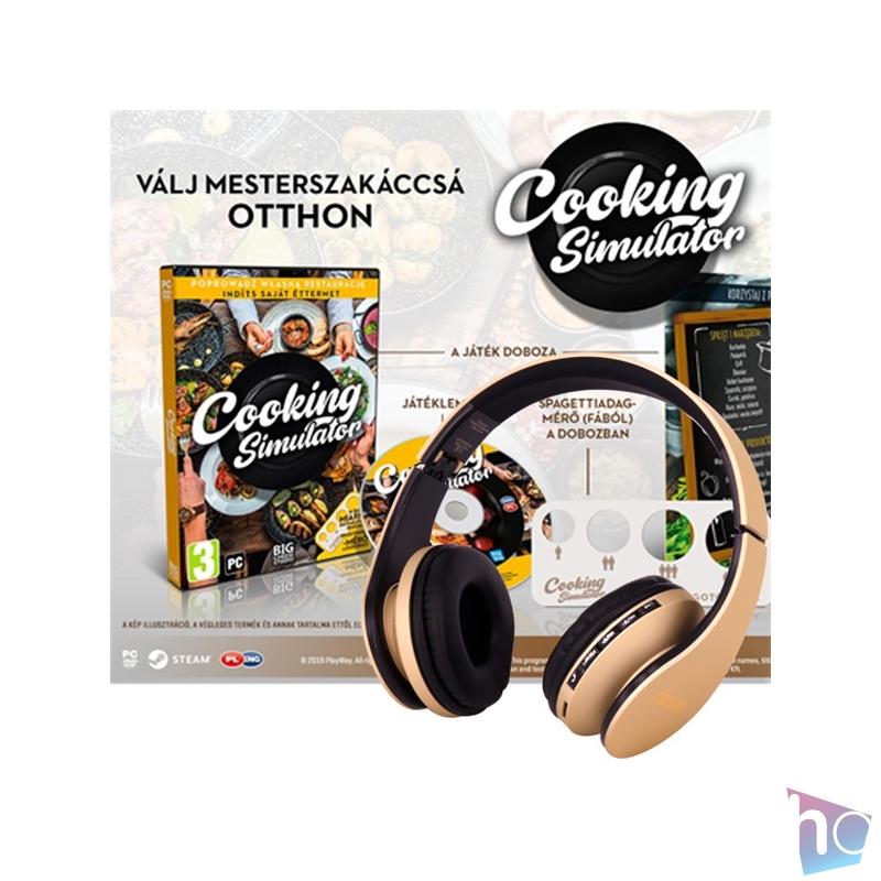 Cooking Simulator PC játékszoftver + Stansson BHC203GB arany / fekete BT fejhallgató csomag
