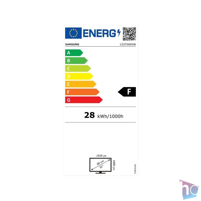 """Samsung 31,5"""" C32T550FDR LED HDMI Display port ívelt kijelzős kékes sötétszürke monitor"""