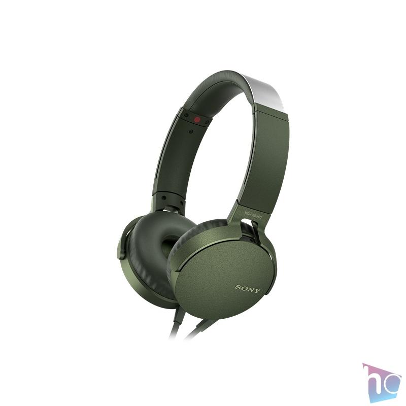 SONY MDRXB550APG.CE7 extra bass zöld fejhallgató