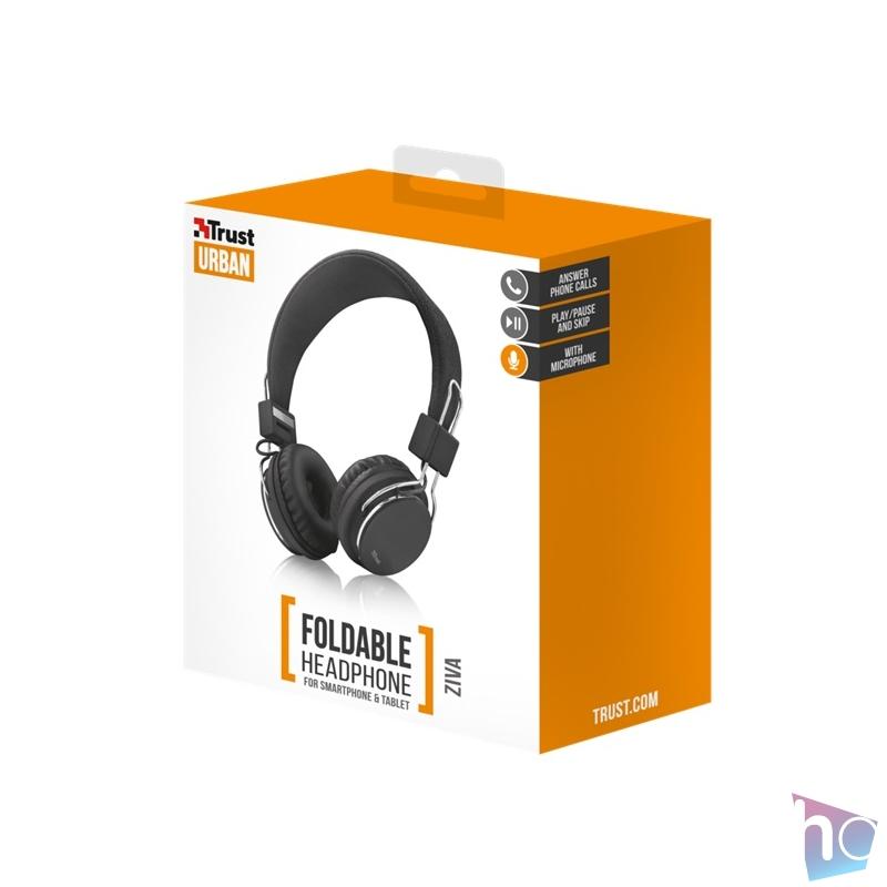 Trust Ziva összehajtható fekete fejhallgató headset