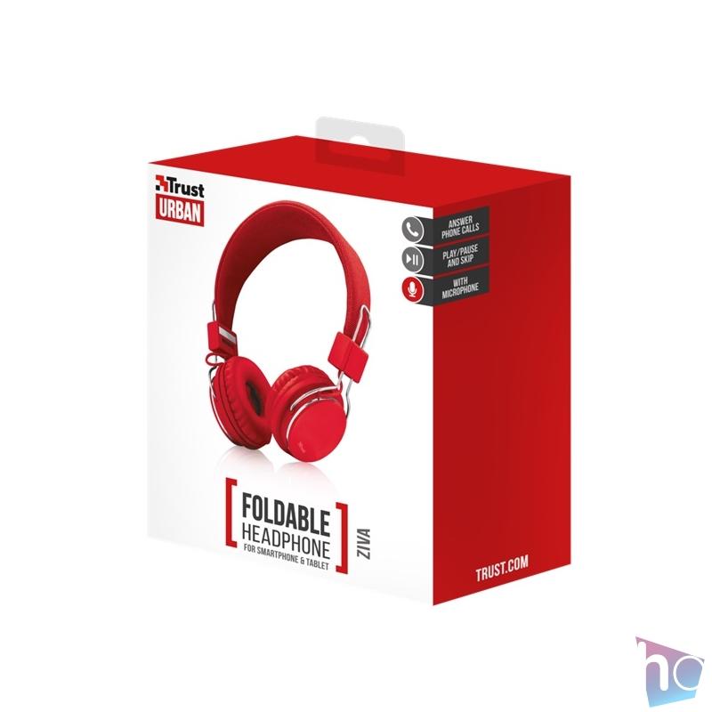 Trust Ziva összehajtható piros fejhallgató headset