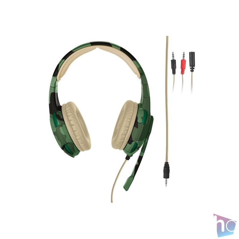 Trust GXT 310C Radius jungle camo gamer fejhallgató headset