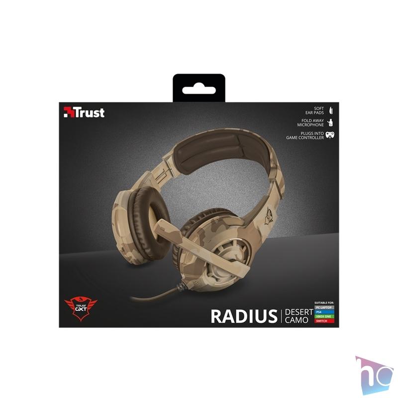 Trust GXT 310D Radius desert camo gamer fejhallgató headset