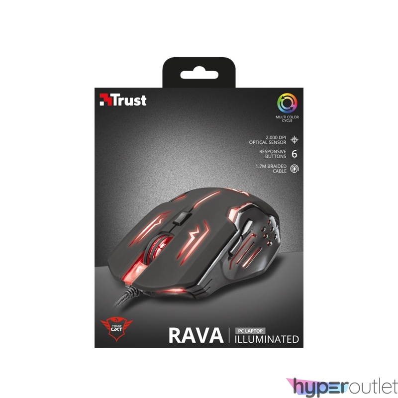 Trust GXT 108 Rava Illuminated USB fekete gamer egér