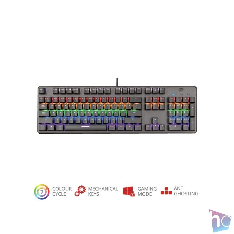Trust GXT 865 Asta HUN USB fekete mechanikus gamer billentyűzet