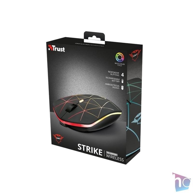 Trust GXT 117 Strike vezeték nélküli fekete gamer egér