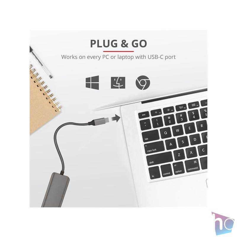 Trust Halyx 4 portos USB-C  USB3.2 alumínium HUB