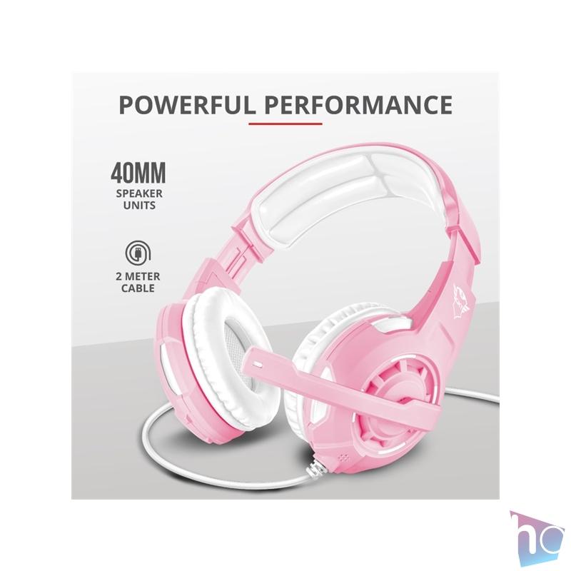 Trust GXT 310P Radius pink gamer fejhallgató headset