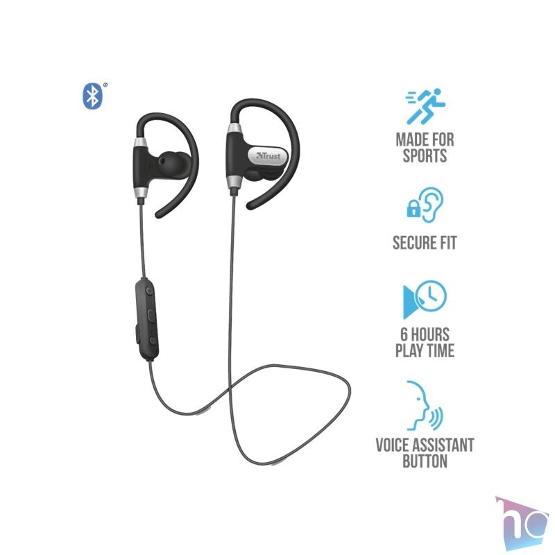 Trust Usan Bluetooth wireless fekete sport fülhallgató headset