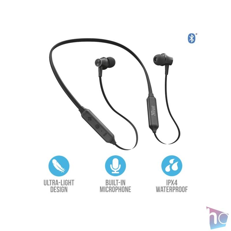 Trust Ludix Lightweight Bluetooth wireless fekete sport nyakpántos fülhallgató headset