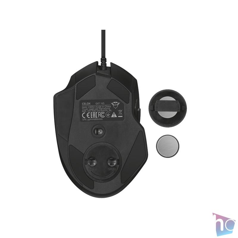 Trust GXT 165 Celox RGB fekete gamer egér