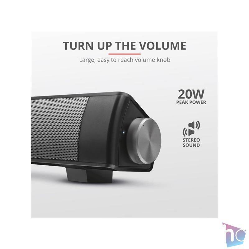 Trust Lino Wireless Sound Bar 20W fekete hangszóró