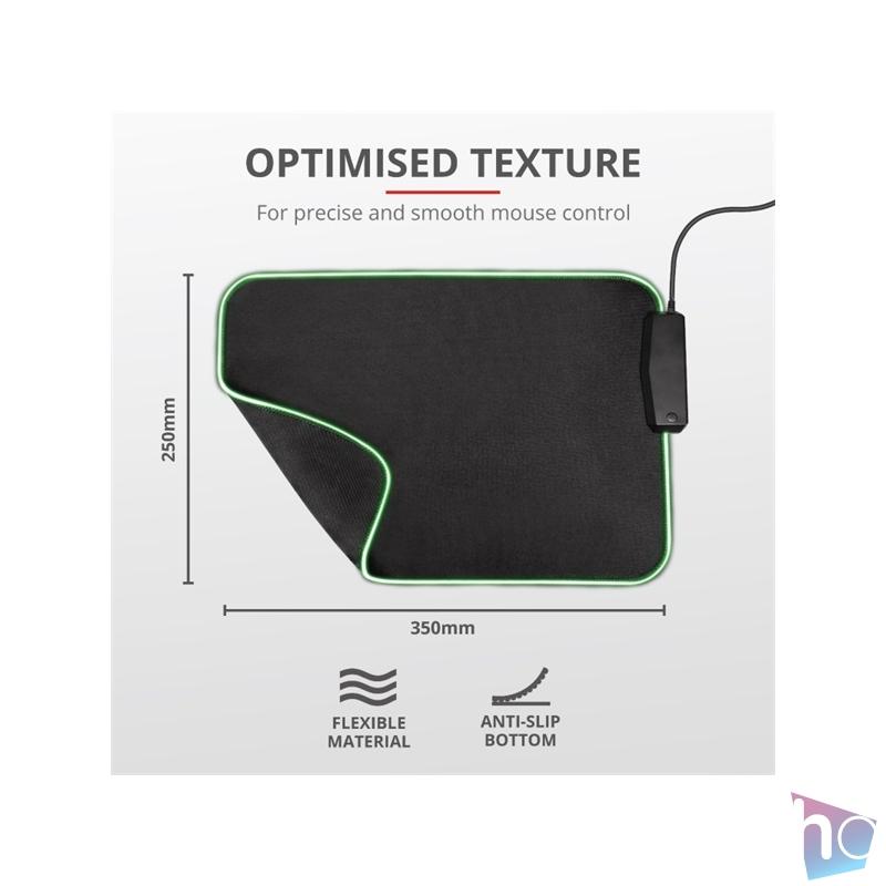 Trust GXT 765 Glide-Flex RGB világító fekete gamer egérpad