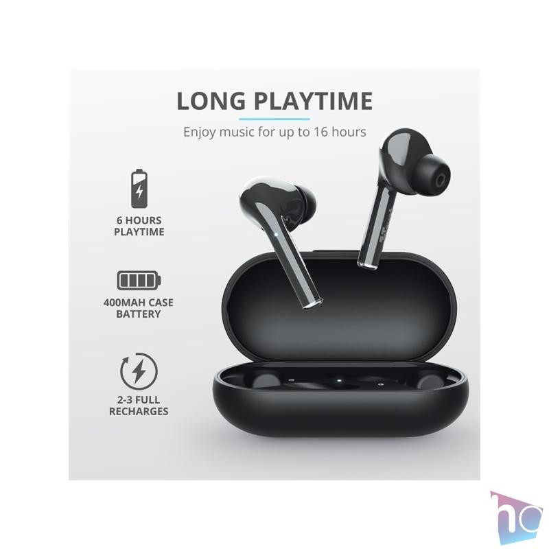 Trust Nika Touch Bluetooth true wireless fekete fülhallgató headset