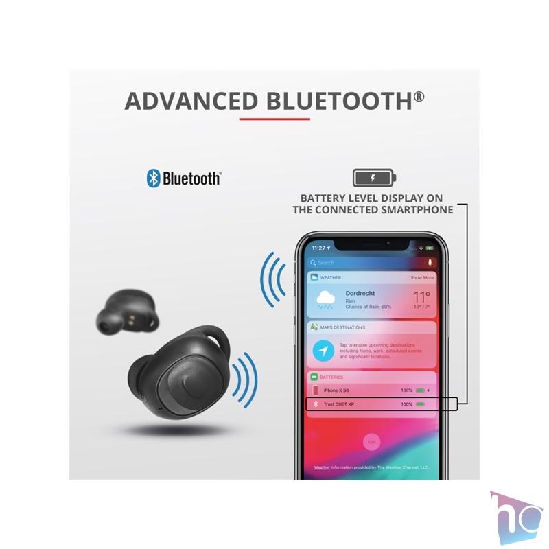 Trust Duet XP Bluetooth true wireless fekete fülhallgató headset
