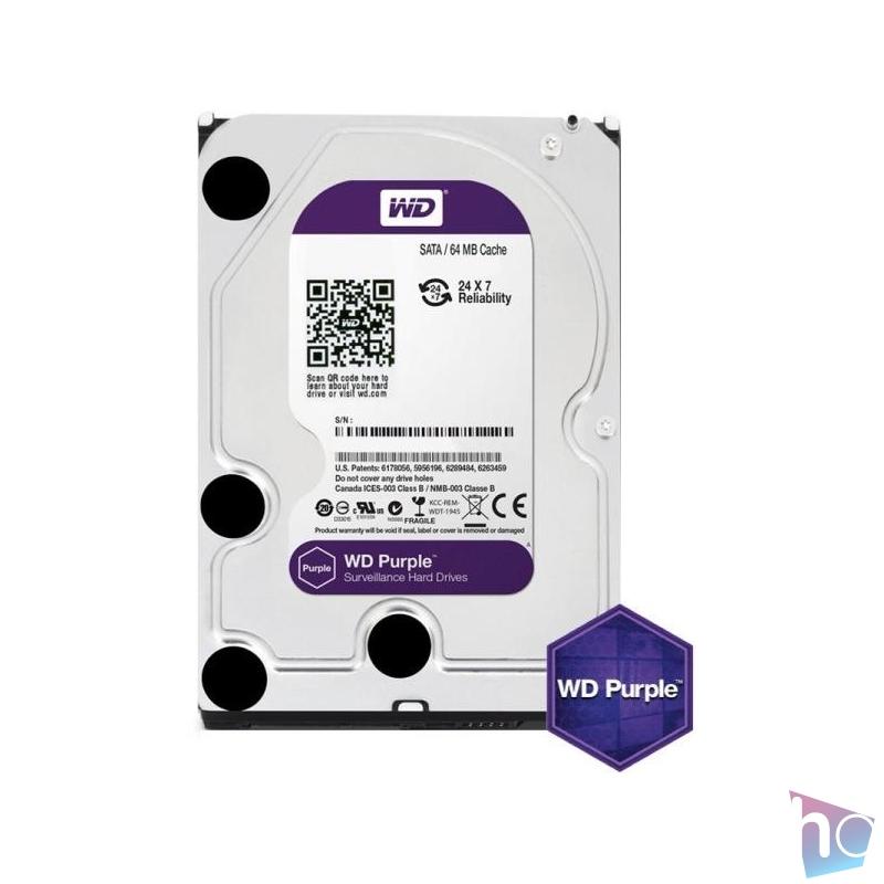 """Western Digital 3,5"""" 2000GB belső SATAIII 5400RPM 64MB PURPLE WD20PURZ winchester 3 év"""